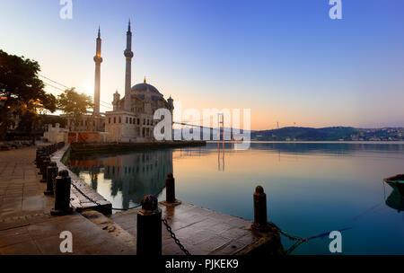 Ortakoy Mosque and Bosphorus in Istanbul at early morning, Turkey - Stock Photo