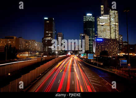 View on the district la Defense from pont de Neuilly in evening, Paris, France - Stock Photo