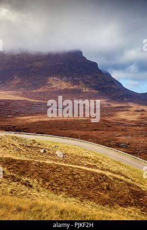 The highway A894 in the scottish highlands - Stock Photo