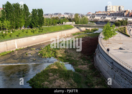 Madrid, Puente de Arganzuela, greening project 'Madrid Rio' - Stock Photo