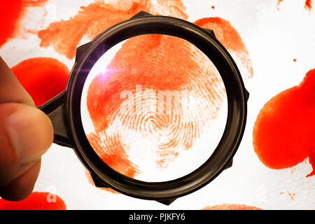 Drop of blood, fingerprint, magnifying glass, forensics - Stock Photo