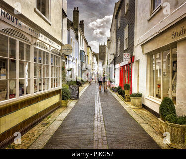 GB - DEVON: Foss Street in the town centre of  Dartmouth - Stock Photo