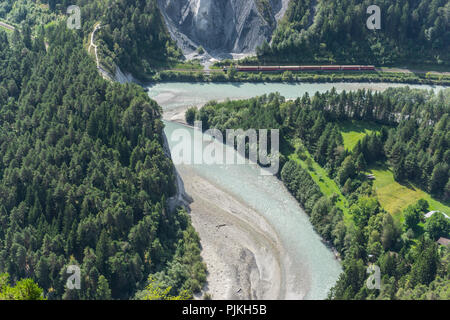 View from the observation platform Il Spir into Rhine gorge near Conn, region Surselva, canton of Grisons, Switzerland - Stock Photo