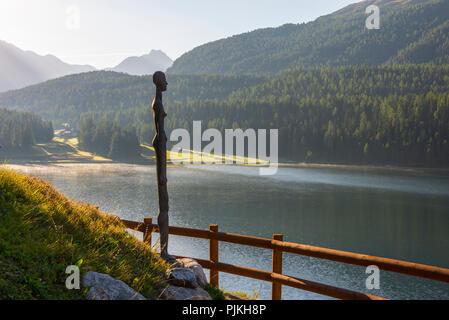 Idyll on Lake St. Moritz, St. Moritz, Upper Engadin, Grisons, Switzerland - Stock Photo