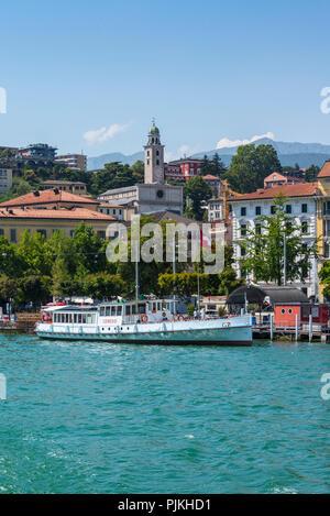 Boat trip on Lake Lugano with a view of Lugano, Ticino, Switzerland - Stock Photo