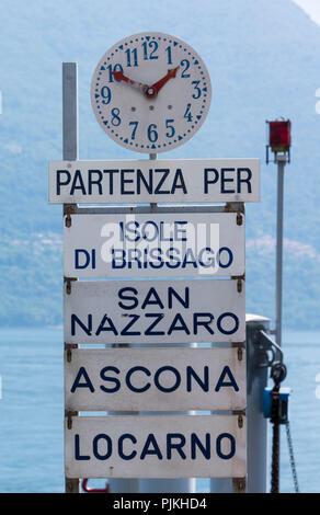 Ship pier to Brissago island and to Ascona and Locarno, near Brissago, Lago Maggiore, Ticino, Switzerland - Stock Photo