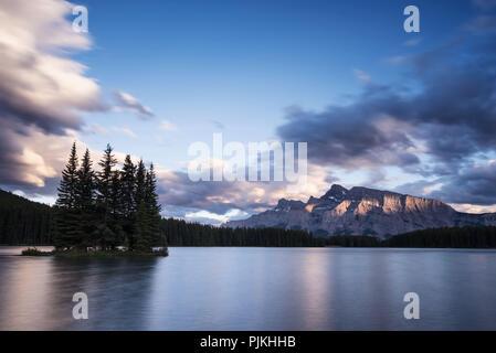 Sunset at Two Jack Lake, Banff National Park, Canada - Stock Photo