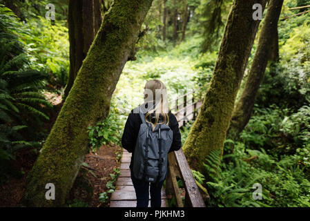 On the Schooner Cove Trail, Vancouver Island, Canada - Stock Photo