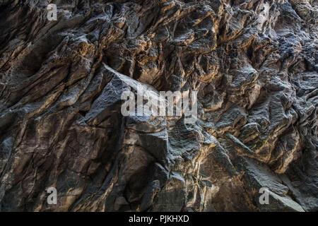 Germany, Saxony, Upper Lusatia, Zittau Mountains, Jonsdorf, Millstone Quarries Detail of sandstone formation - Stock Photo
