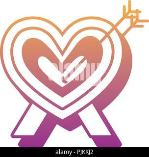 target in heart shape over white background, vector illustration - Stock Photo
