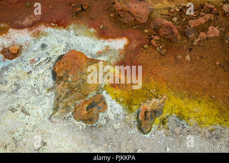 Iceland, Myvatn region, solfatara field Námaskarð, sulfur efflorescence - Stock Photo