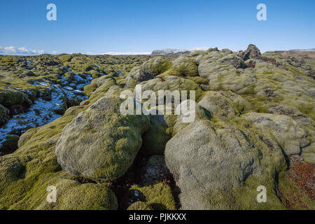 Iceland, south coast,moss-covered lava rocks, snowed, blue sky, mountains in the background, - Stock Photo