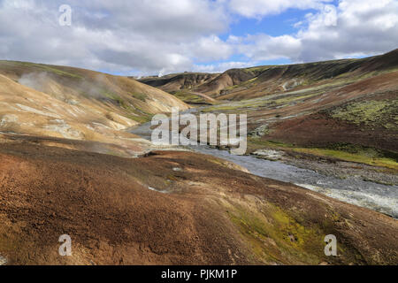 Iceland, rhyolite mountains, river, hot springs, steam, high temperature zone, - Stock Photo