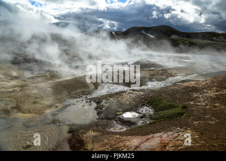 Iceland, hot springs, steam, high temperature zone, backlight - Stock Photo