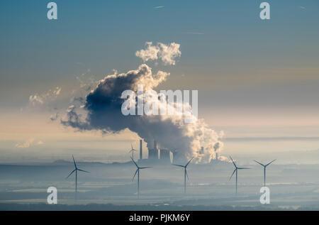 Weisweiler power plant in Eschweiler, RWE Power AG, brown coal power plant and wind power plants, alternative energy, fossil energy, renewable energy, smoke cloud, Eschweiler, Rhineland, North Rhine-Westphalia, Germany - Stock Photo