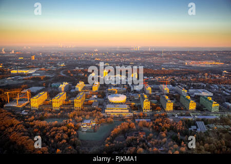 Sunrise at RUB Ruhr University Bochum, Bochum, Ruhr area, North Rhine-Westphalia, Germany - Stock Photo