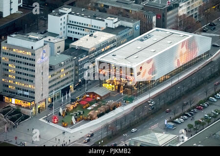 DFB Football Museum Dortmund at night, Football Museum, Dortmund, Ruhr area, North Rhine-Westphalia, Germany - Stock Photo