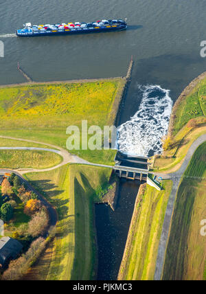 Emscher estuary, Rhine floodplains, Dinslaken, Rhine, reconstruction of the Emscher estuary, Dinslaken, Ruhr area, North Rhine-Westphalia, Germany - Stock Photo