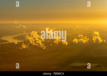 Chempark Dormagen, INEOS, Chemical industry with clouds of smoke in the morning, Emission, Dormagen, Rhineland, North Rhine-Westphalia, Germany - Stock Photo