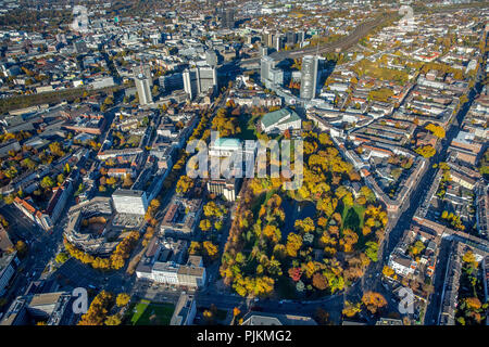 Aerial view, Huyssenallee, development plans southern city center in front of the skyline of Essen, skyscrapers, RWE Tower, Evonik, Essen, Ruhr area, North Rhine-Westphalia, Germany - Stock Photo