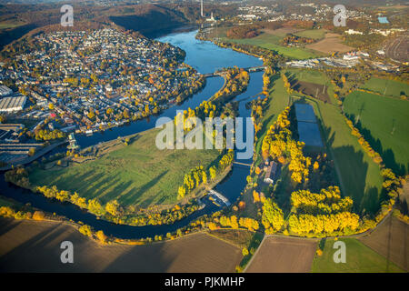 Aerial view, water protection area or Ruhraue Volmarstein, Am Kaltenborn (with waterworks and infiltration basins), run-of-river power station on the Ruhr, Obergraben, Wetter (Ruhr), Ruhr area, North Rhine-Westphalia, Germany - Stock Photo