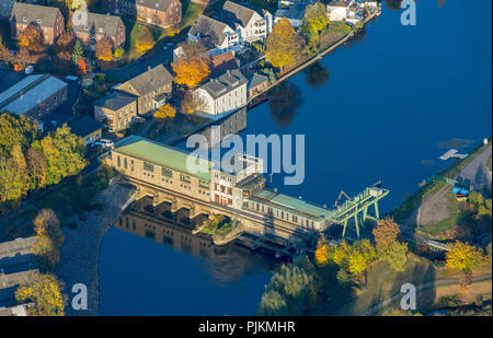 Aerial view, run-of-river power station on the Ruhr, Obergraben, Wetter (Ruhr), Ruhr area, North Rhine-Westphalia, Germany - Stock Photo