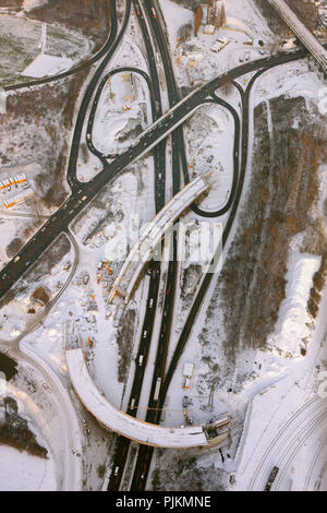 Aerial view, A40 construction site in the snow Hamm Donezkring, Bochum, Ruhr area, North Rhine-Westphalia, Germany, Europe - Stock Photo
