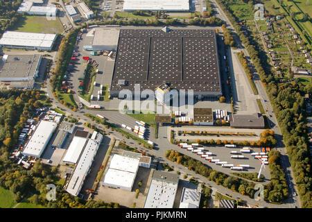 Aerial view, NettoMarkt Logistikzentrum, former PLUS, Boy, Bottrop, Ruhr area, North Rhine-Westphalia, Germany, Europe - Stock Photo