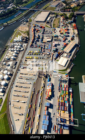 Aerial view, Duisport, largest inland port of Europe, Duisburg port company, Rhine, Duisburg, Ruhr area, North Rhine-Westphalia, Germany - Stock Photo