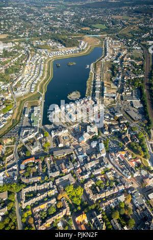 Aerial view, Phoenix lake Dortmund, Emscher, former steelworks site, structural change, Dortmund, Ruhr area, North Rhine-Westphalia, Germany - Stock Photo