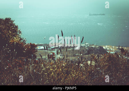 View over the sea from the Rock in Gibraltar, - Stock Photo