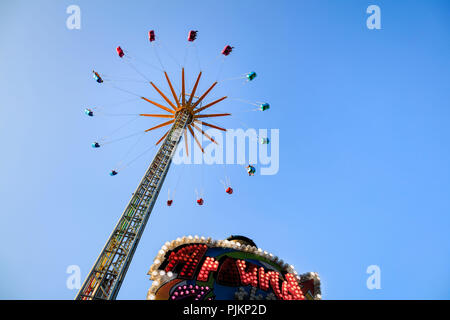 Europe, Germany, Hesse, Frankfurt am Main, chairoplane on the Dippemess - Stock Photo