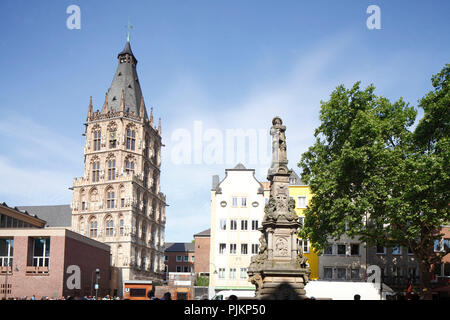 Historic Town Hall on the Alter Markt, Jan von Werth Monument, Old Town, Cologne, North Rhine-Westphalia, Germany, Europe - Stock Photo