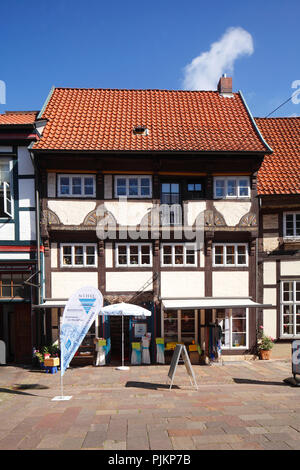 Historic half-timbered house on market square, Nienburg an der Weser, Lower Saxony, Germany, Europe