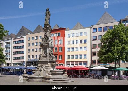 Gabled houses at Alter Markt, Jan von Werth Monument, Old Town, Cologne, North Rhine-Westphalia, Germany, Europe - Stock Photo