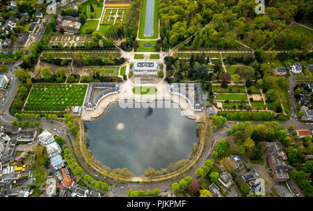 Benrath Castle with castle pond and castle garden, Benrather Schloss Allee, Dusseldorf, Rhineland, North Rhine-Westphalia, Germany - Stock Photo
