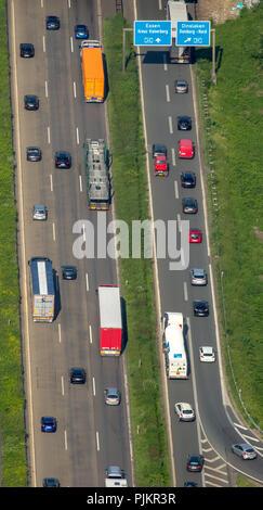 Traffic jam, traffic jam on the A59 motorway and A40 motorway, interchange Duisburg at Ruhrdeich, Duisburg, Ruhr area, North Rhine-Westphalia, Germany - Stock Photo