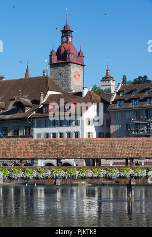 Kapellbrücke and City View with Town Hall Tower, Lucerne, Lake Lucerne, Canton of Lucerne, Switzerland - Stock Photo