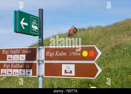 Hiking signs on the Rigi, near Lucerne, Lake Lucerne, Canton Lucerne, Switzerland - Stock Photo