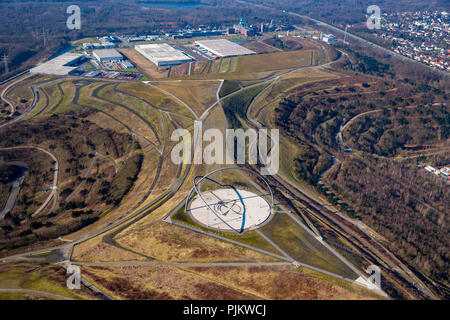 Hoppenbruchhalde at the industrial park Ewald on the site of the former colliery Ewald, Horizon observatory, obelisk and sundial, Herten, Ruhr area, North Rhine-Westphalia, Germany - Stock Photo