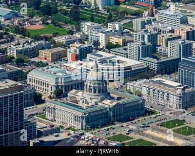 City Hall, Civic Center Plaza, Veterans Building, War Memorial Opera House, San Francisco, San Francisco Bay Area, United States of America, California, USA - Stock Photo