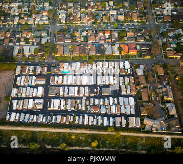 Mobile Home Residential Park, Oregon Avenue Brookstreet, Commerce, Los Angeles County, California, United States - Stock Photo