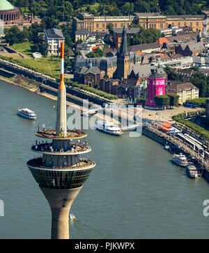 TV tower in front of the shipping museum in the Schlossturm, Burgplatz, Dusseldorf, Rhineland, North Rhine-Westphalia, Germany - Stock Photo