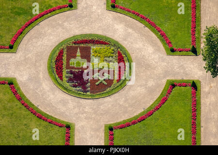 Flowerbed in the shape of the coat of arms of Gelsenkirchen in the castle park of castle Berge, flower borders, Gelsenkirchen, Gelsenkirchen-Buer, Ruhr area, North Rhine-Westphalia, Germany - Stock Photo