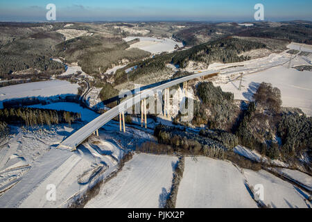 Expansion of the A46 motorway bridge Nuttlar in the snow, highest bridge in the state of NRW, Bestwig, Sauerland, North Rhine-Westphalia, Germany - Stock Photo