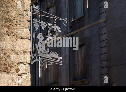 Advertising sign in Villefranche de Conflent, the fortified village is part of the UNESCO World Heritage, plus beaux villes de France, founded in the XI century, - Stock Photo