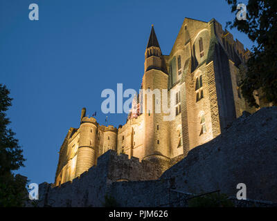 Mont Saint-Michel Abbey at night, Normandy, France. - Stock Photo