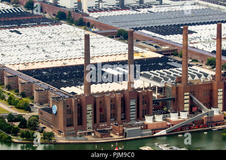Volkswagen plant Wolfsburg with combined heat and power plant VW Südstraße, Lower Saxony, Germany, Europe - Stock Photo