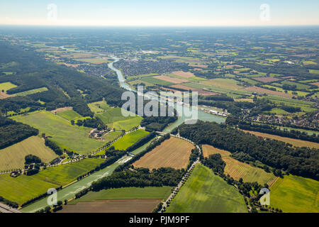 Lock at the Dortmund-Ems Canal, junction to the Mittelland Canal, canal junction, Am Nassen Dreieck, Ibbenbüren, North Rhine-Westphalia, Germany - Stock Photo