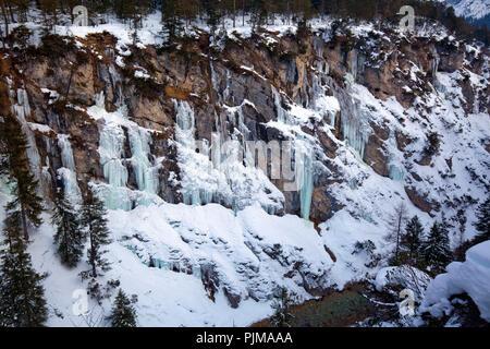 Alpine winter landscape in the back Isartal - Stock Photo